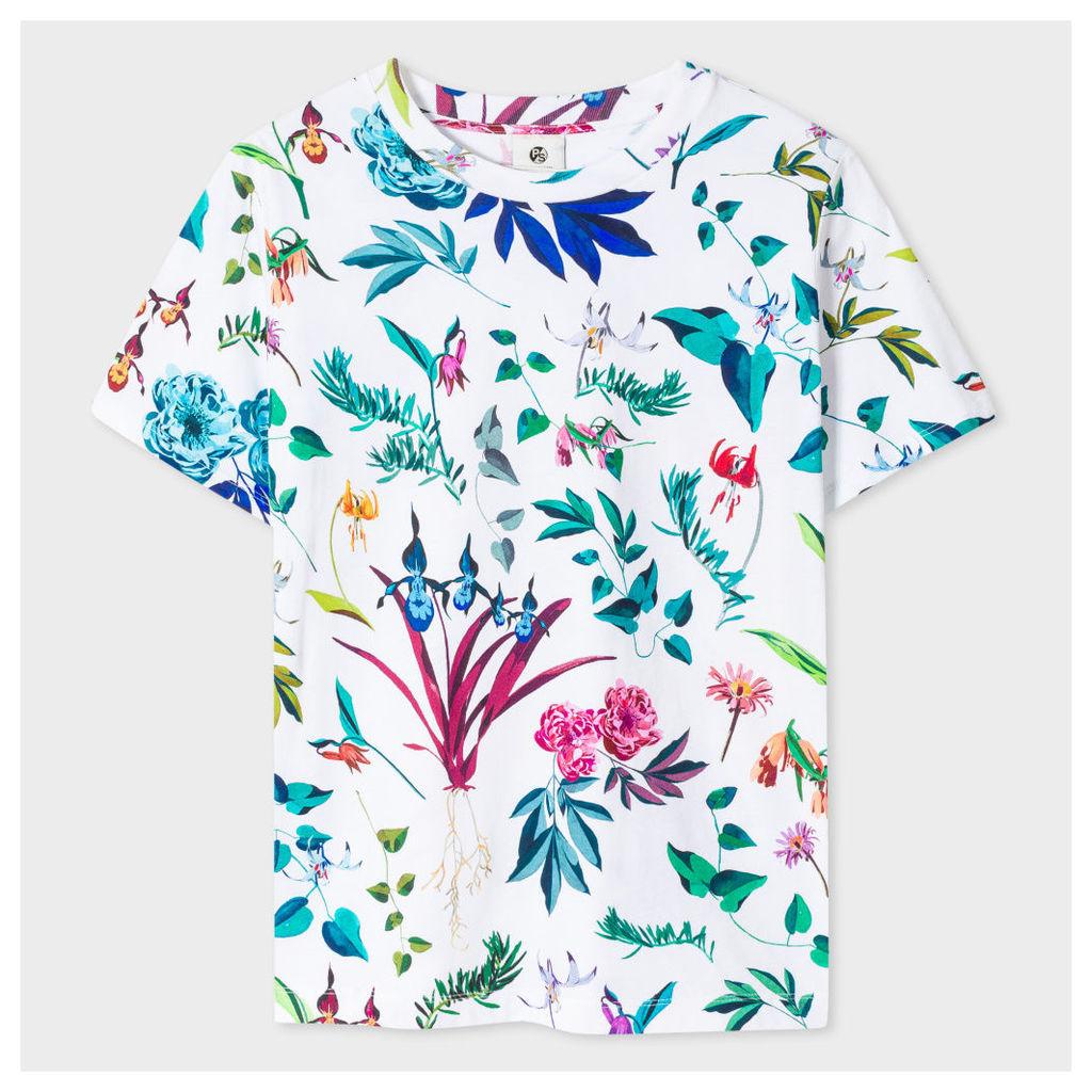 Women's White 'Painted Floral' Print Cotton T-Shirt