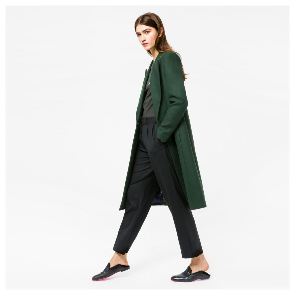 Women's Dark Green Wool-Cashmere Double-Breasted Coat