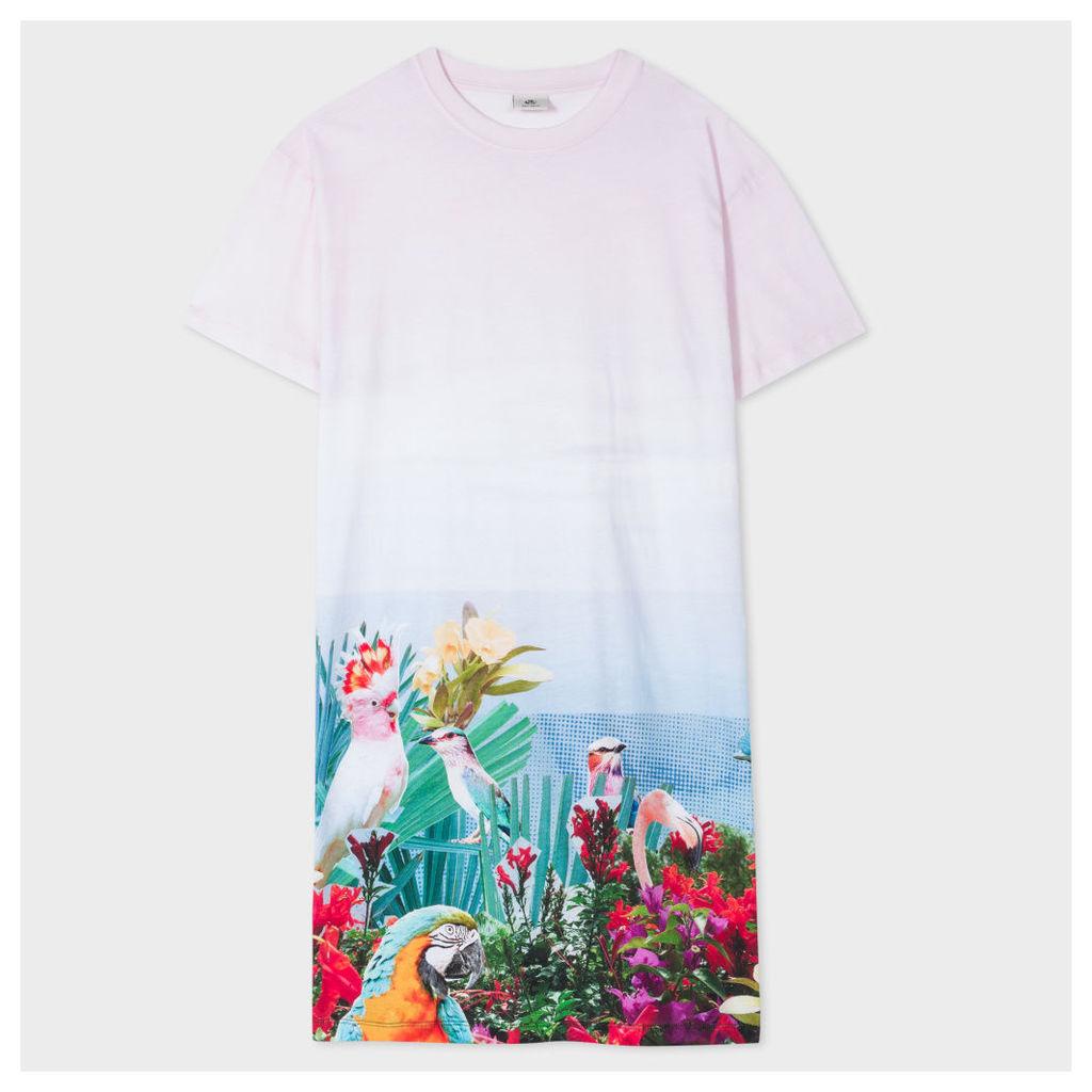 Women's Light Pink 'Tropical Birds' Print Cotton Dress