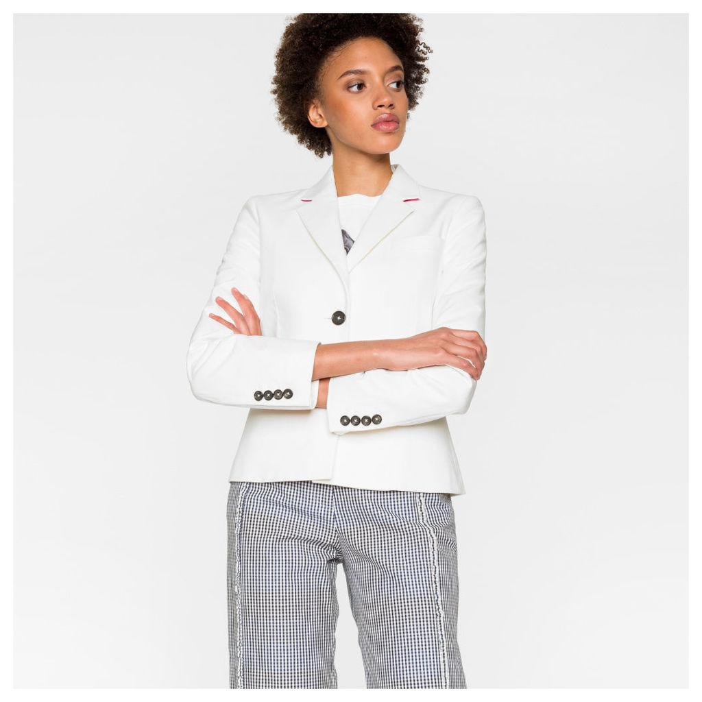 Women's White Cotton Blazer