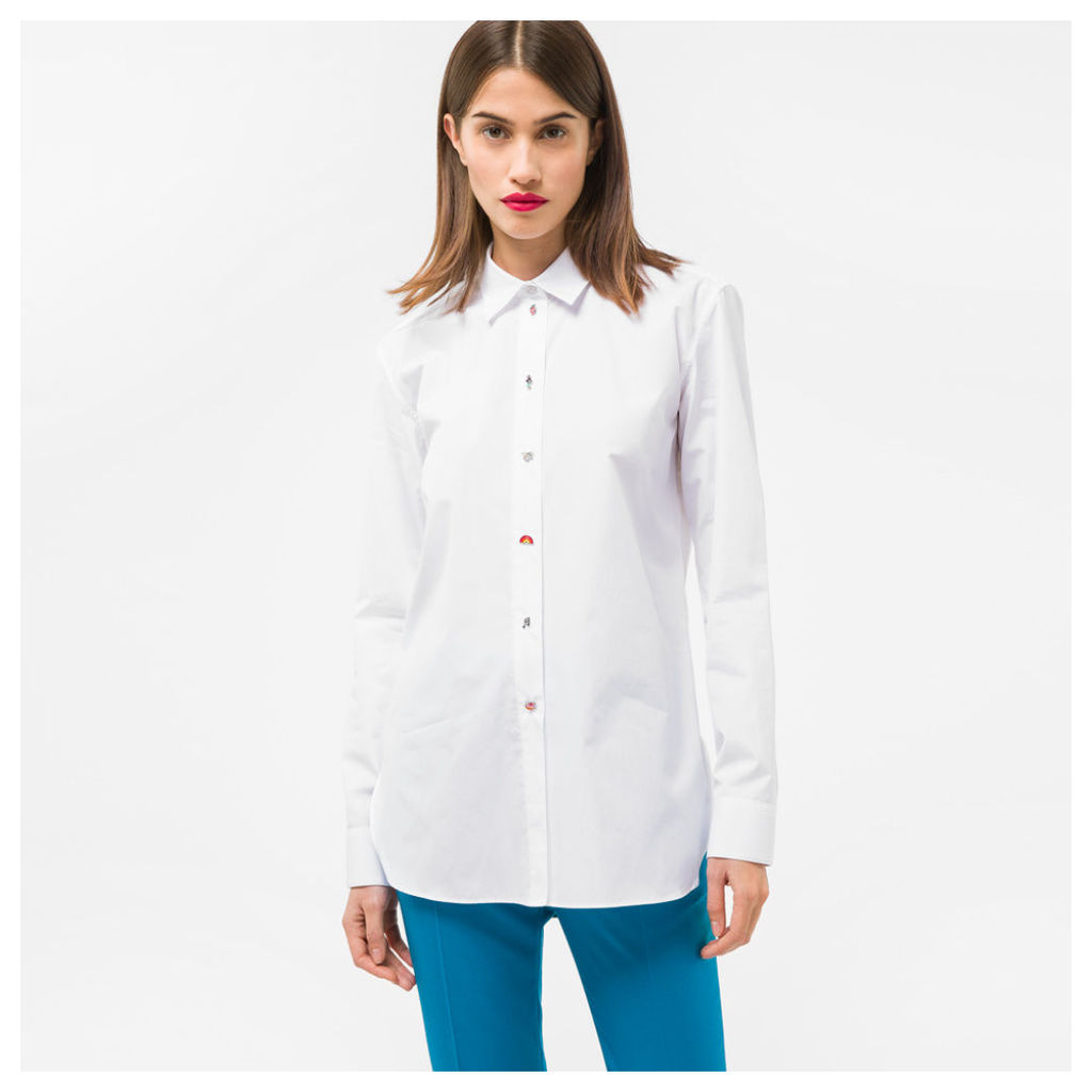 Women's White Cotton Shirt With Charm Buttons