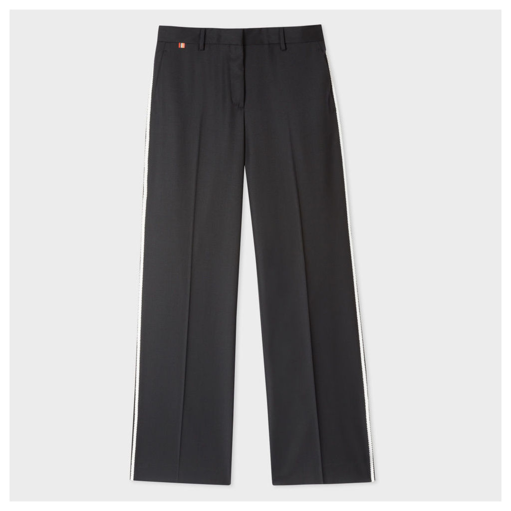 Women's Straight-Fit Black Wool Trousers With White Frogging