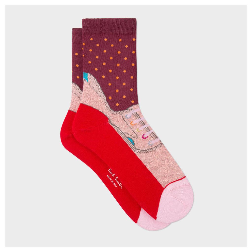 Women's Burgundy 'Trainer' Pattern Socks