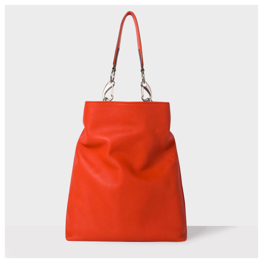 Women's Large Burnt Orange Leather Shopper Bag With 'Artist Stripe' Strap