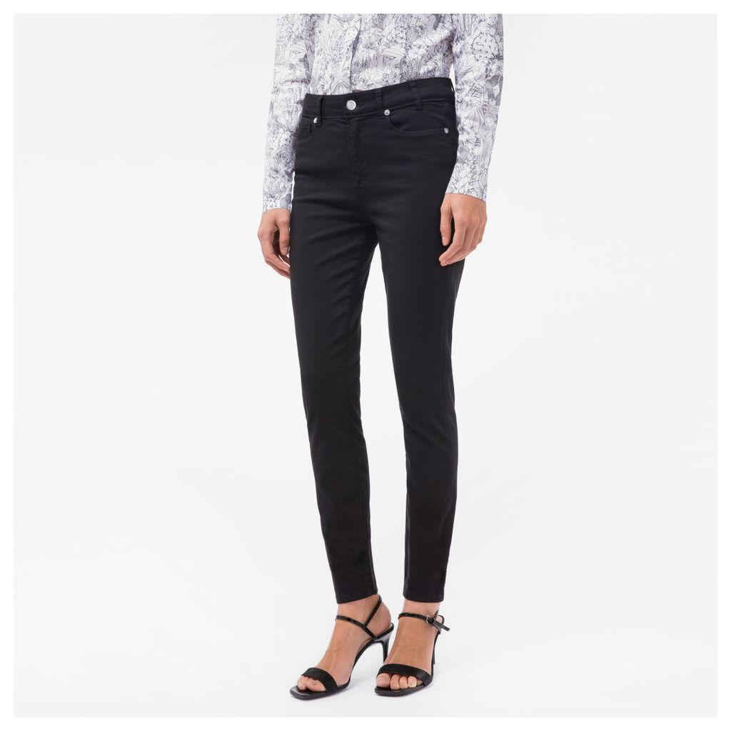 Women's Black Brushed Denim High-Waisted Skinny Jeans