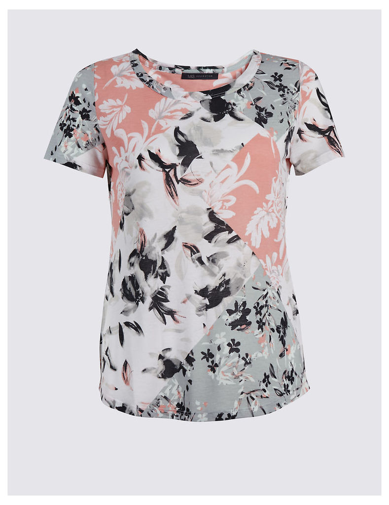 M&S Collection Floral Print Short Sleeve T-Shirt