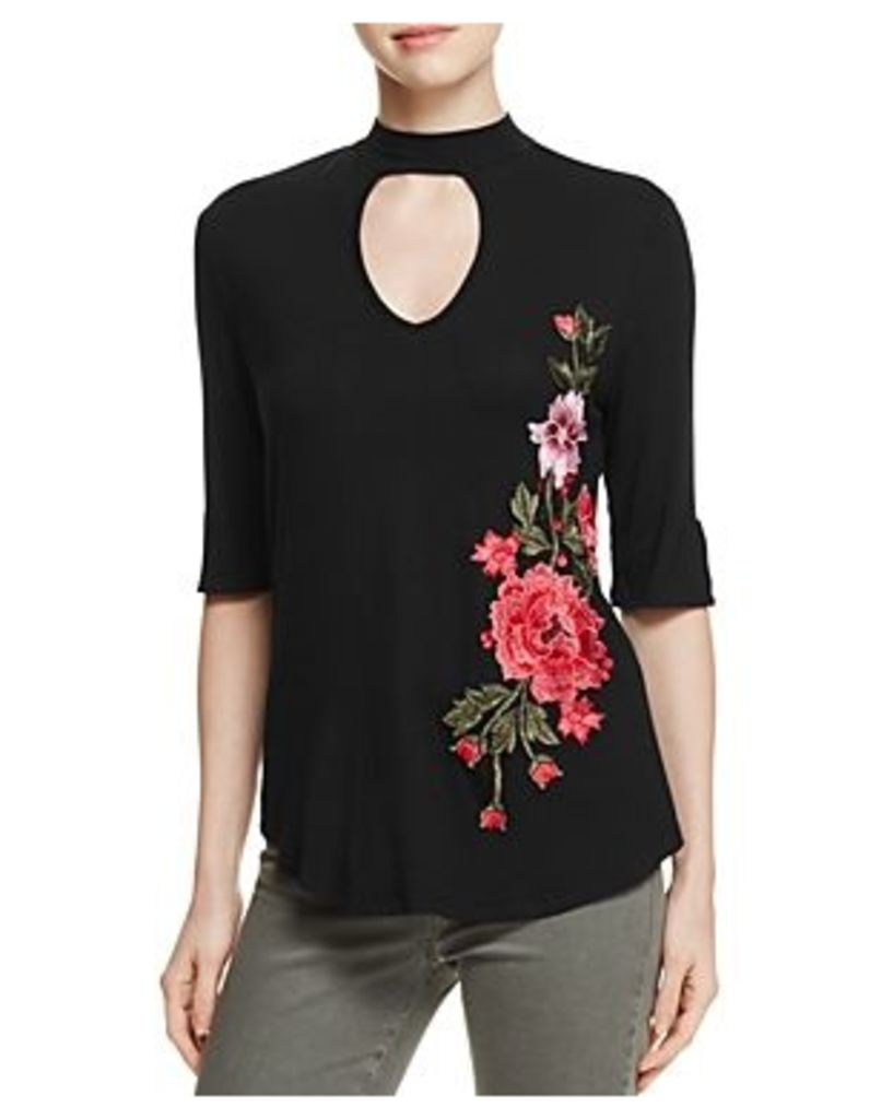 Kim & Cami Mock Neck Embroidered Top