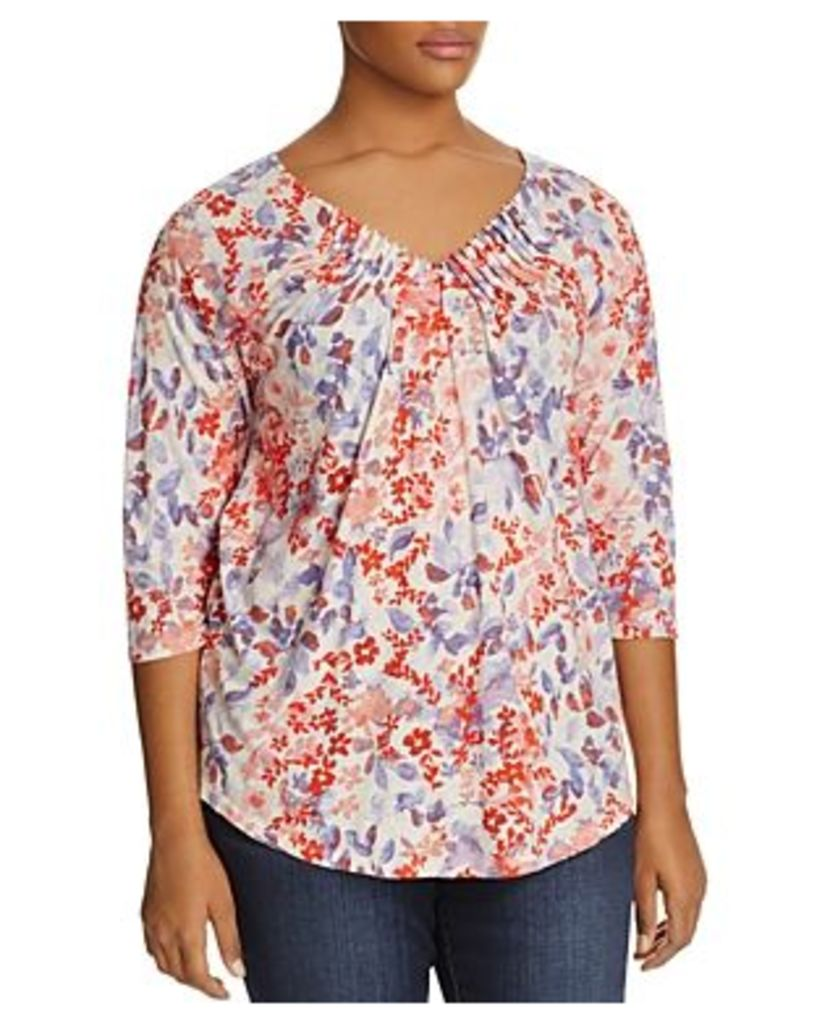 Lucky Brand Plus Pintucked V-Neck Floral Print Top