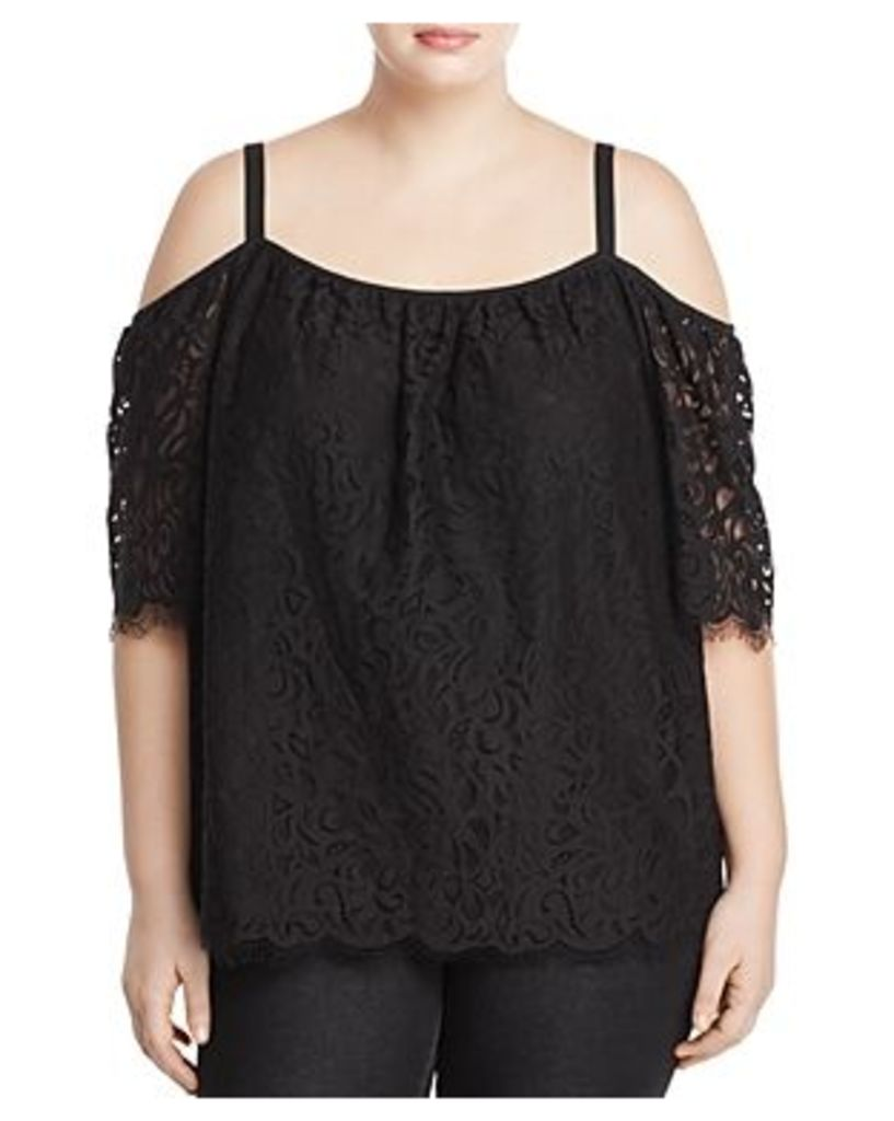 Vince Camuto Plus Cold Shoulder Lace Top