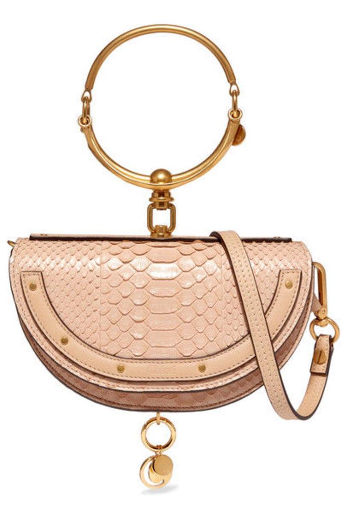 Chloé - Nile Small Leather-trimmed Python Shoulder Bag - Beige