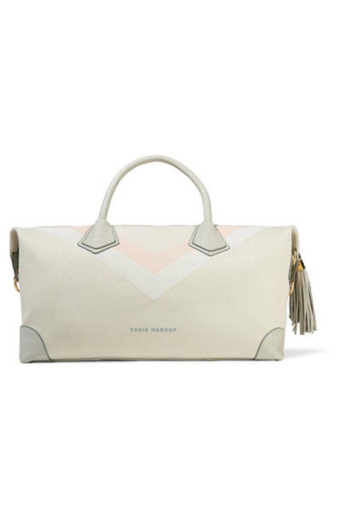 Eddie Harrop - Voyager Leather-trimmed Printed Canvas Weekend Bag - Cream