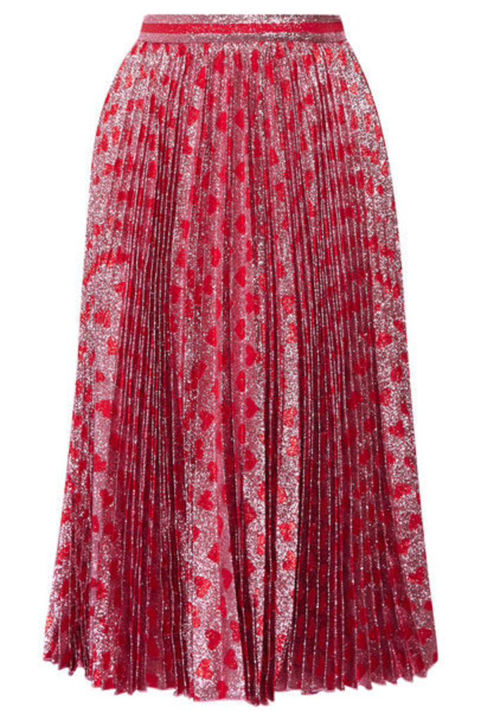 Gucci - Pleated Printed Lamé Skirt - Red