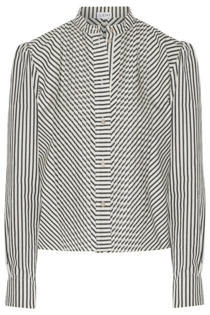 Loewe - Pintucked Striped Cotton-poplin Shirt - Ecru