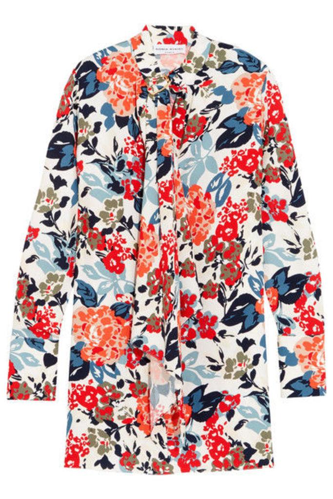 Sonia Rykiel - Floral-print Crepe Mini Dress - Orange