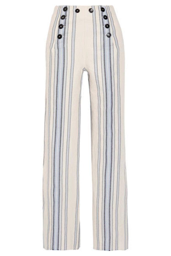 LemLem - Halima Striped Cotton And Linen-blend Wide-leg Pants - Sky blue
