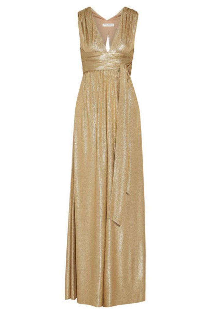 Halston Heritage - Belted Metallic Cloqué Gown - Gold