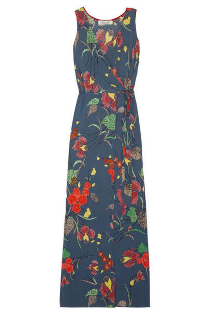 Diane von Furstenberg - Printed Silk-blend Crepe De Chine Wrap Dress - Blue