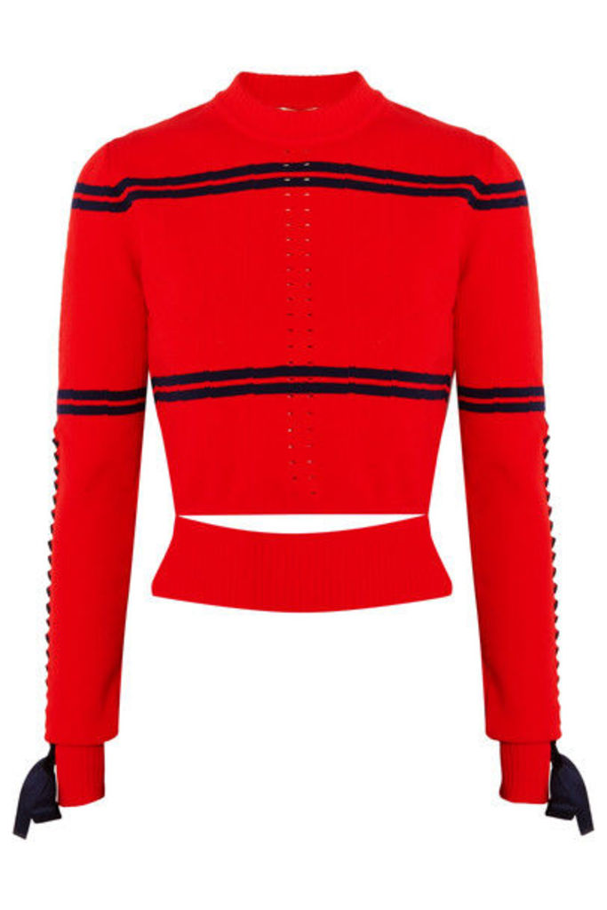 Fendi - Cutout Faille-trimmed Striped Pointelle-knit Sweater - Red