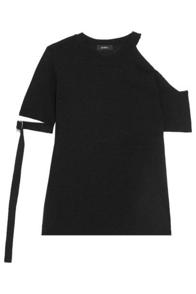 Goen J - Cold-shoulder Knitted T-shirt - Black