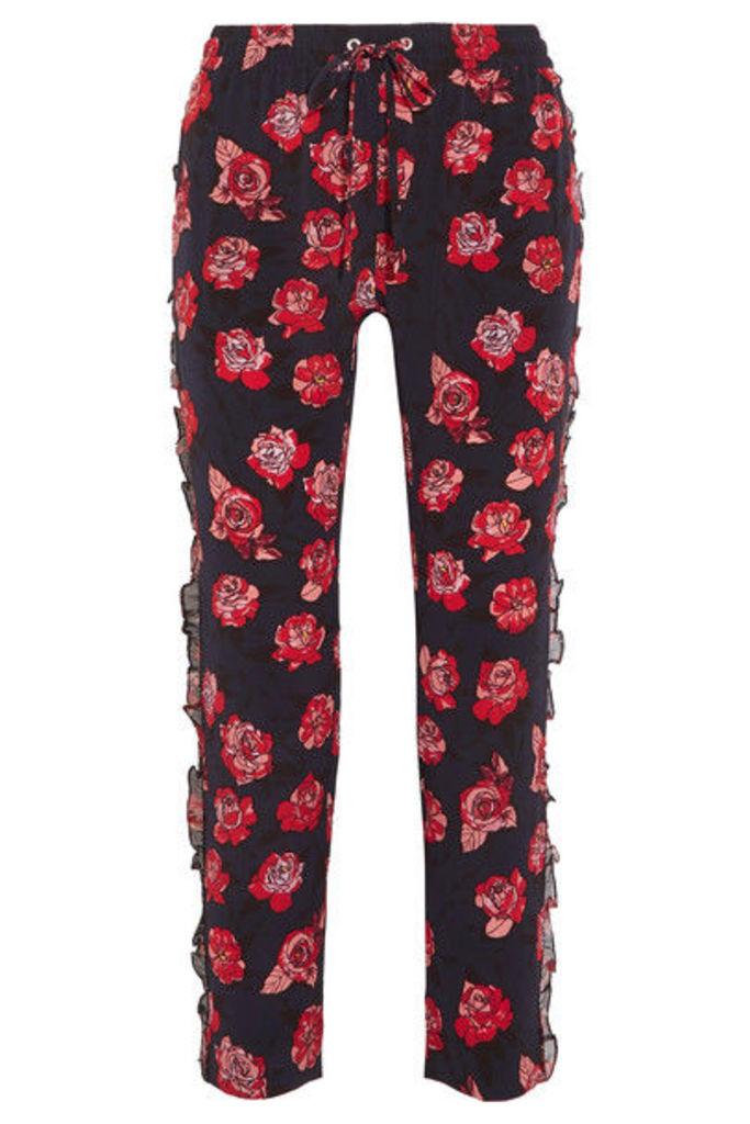 Markus Lupfer - Lana Ruffled Printed Silk Crepe De Chine Tapered Pants - small