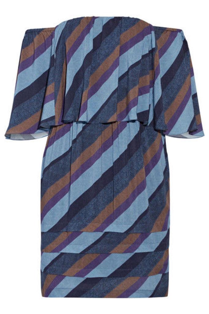 Vix - Ivy Off-the-shoulder Striped Voile Mini Dress - Blue