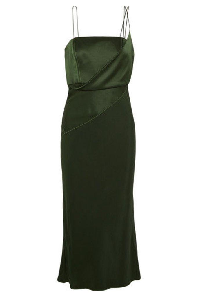 Topshop Unique - Silk-satin Midi Dress - Forest green