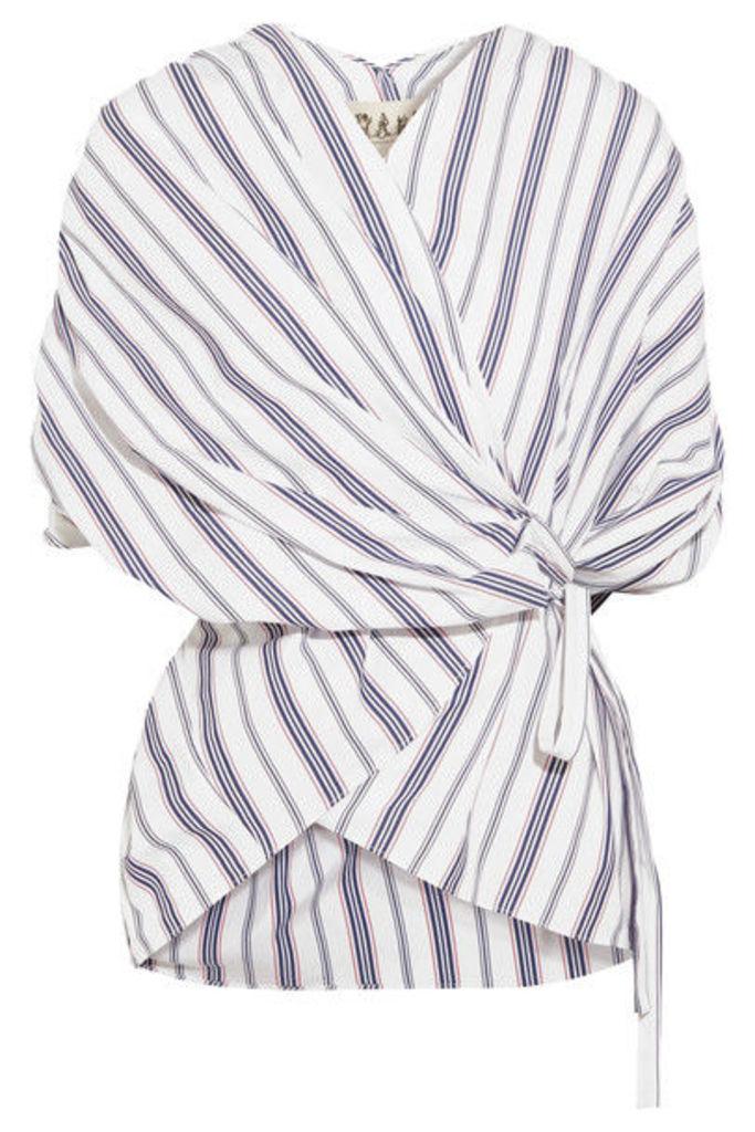 A.W.A.K.E. - Striped Cotton-poplin Wrap Top - White