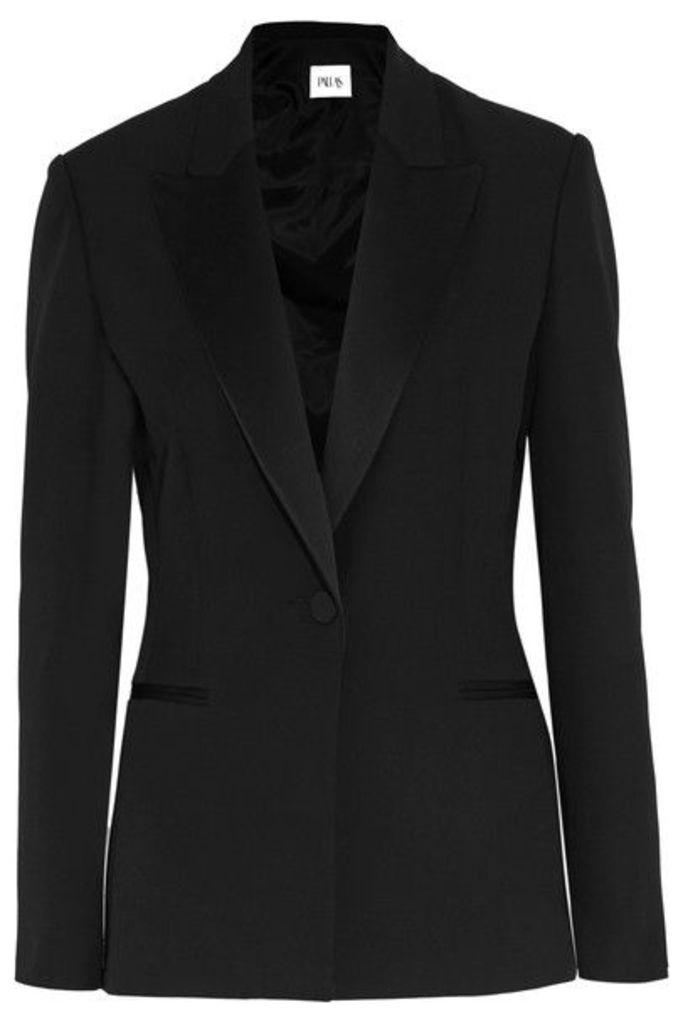 Pallas - Satin-trimmed Grain De Poudre Wool Blazer - Black