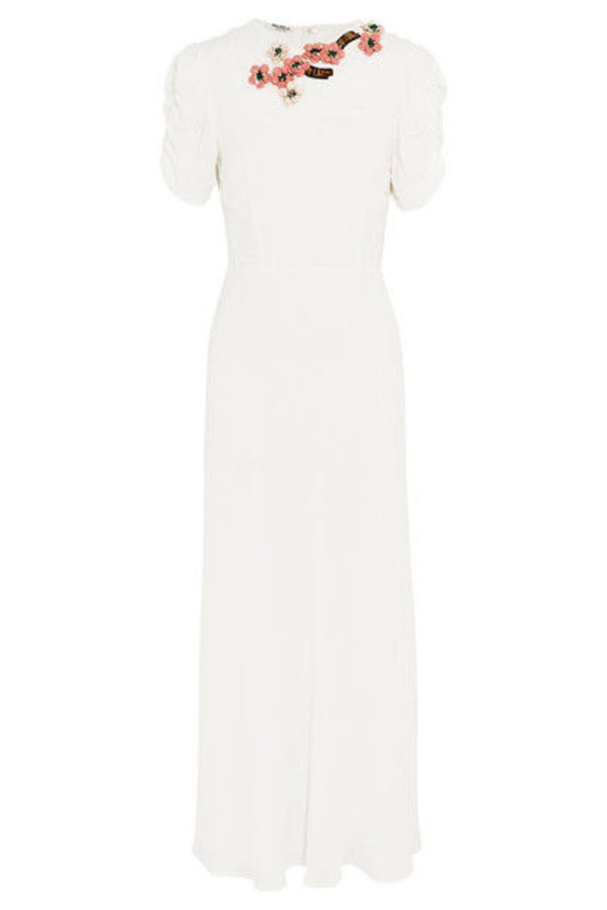 Miu Miu - Embellished Crepe Midi Dress - White