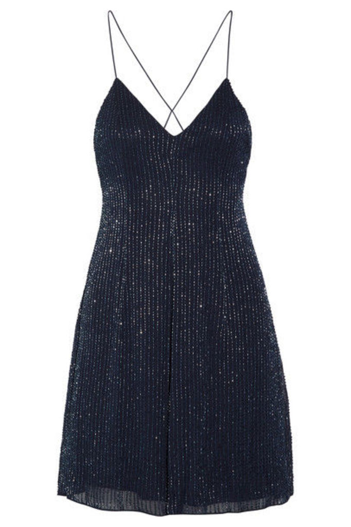Alice + Olivia - Alves Beaded Georgette Mini Dress - Royal blue