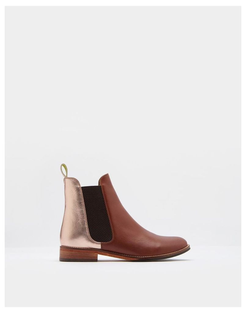 Rose Gold Westbourne Leather Chelsea Boots  Size Adult 8 | Joules UK