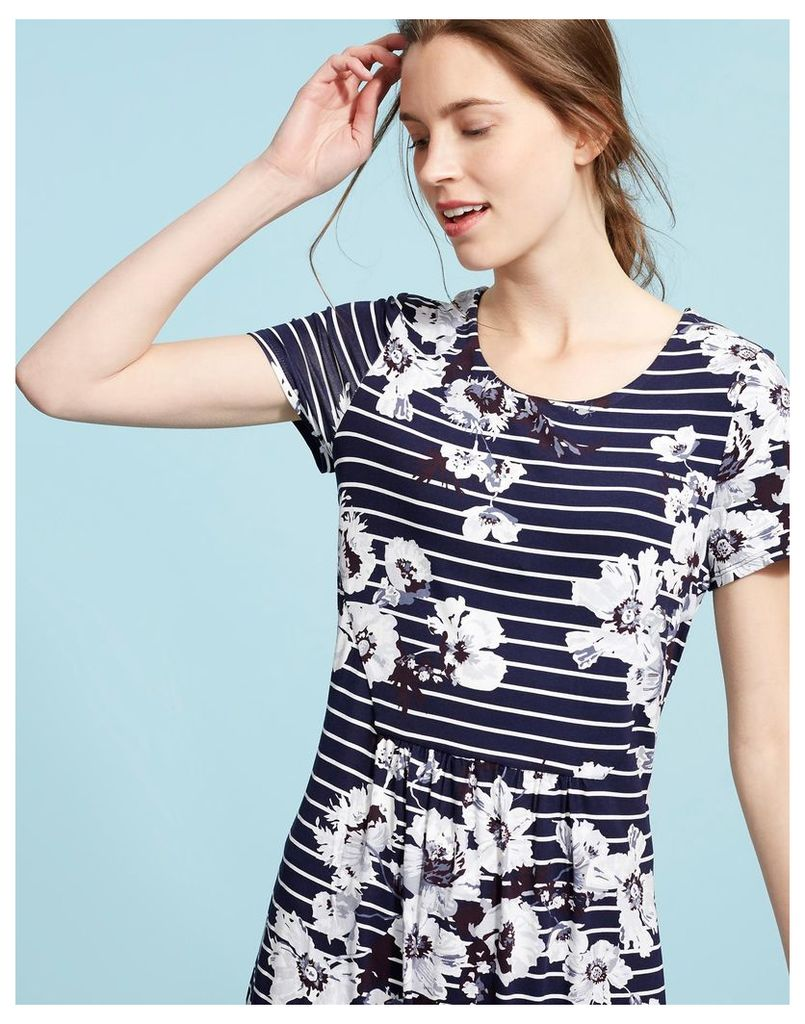 French Navy Posy Stripe Madison Jersey Tunic  Size 12 | Joules UK