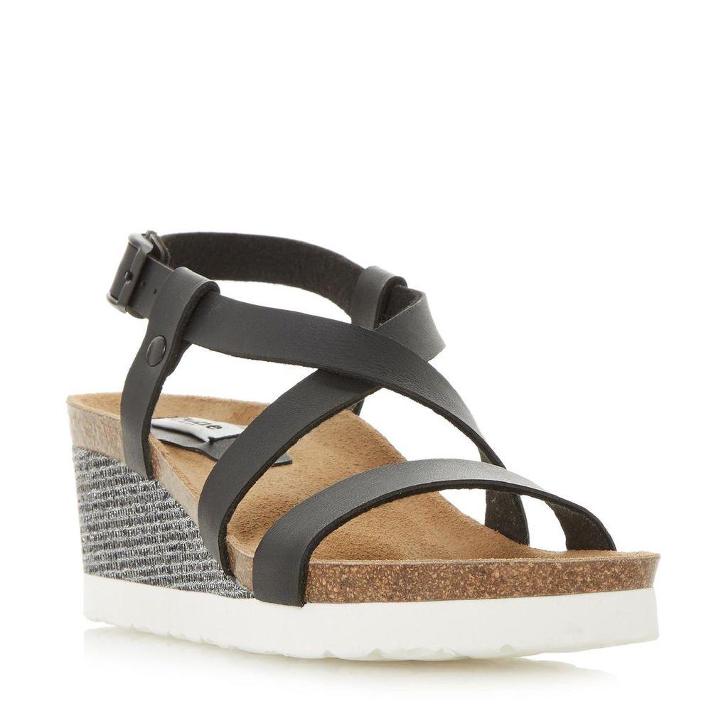 Katya Cross Strap Wedge Footbed Sandal