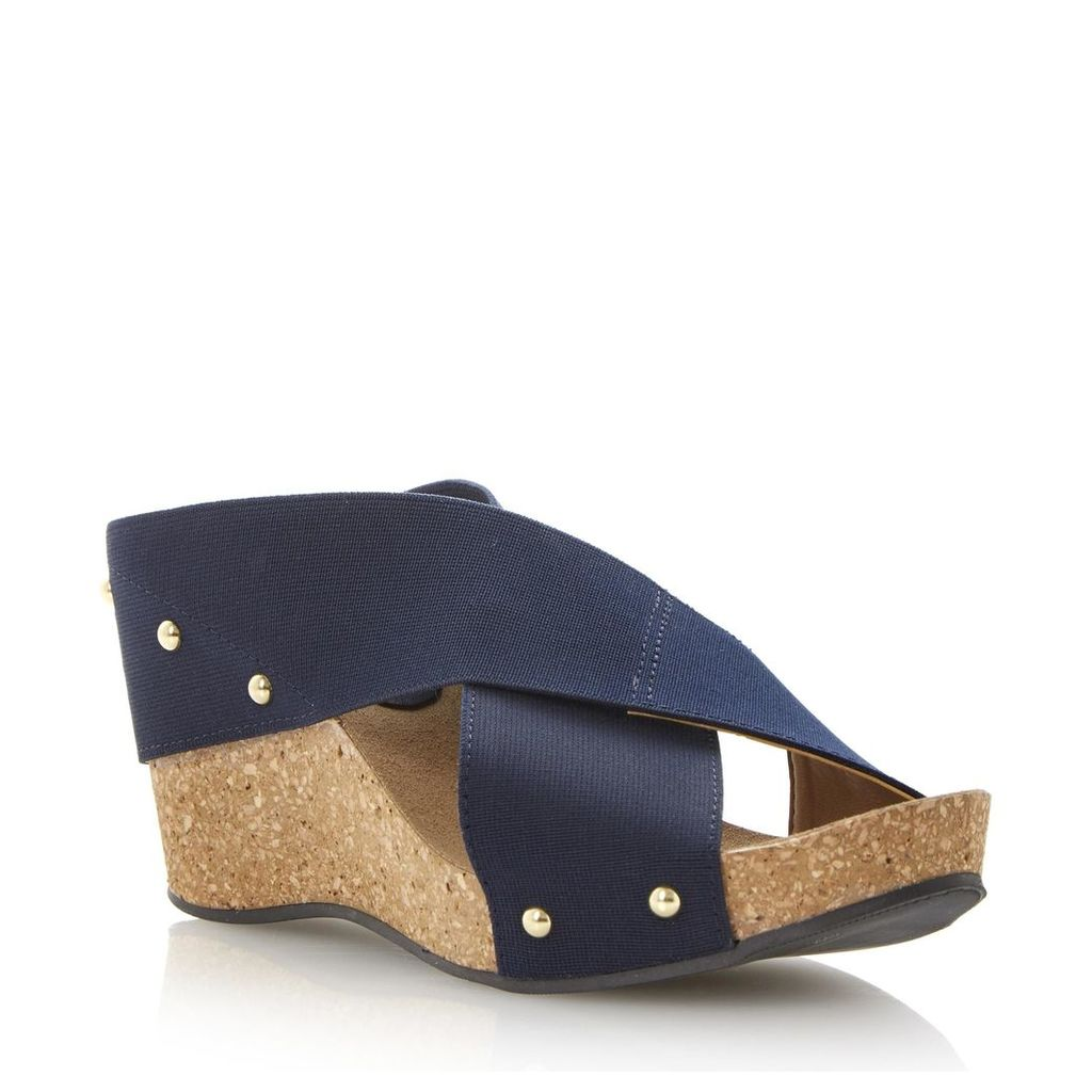 Gladley Elasticated Crossover Strap Wedge Sandal