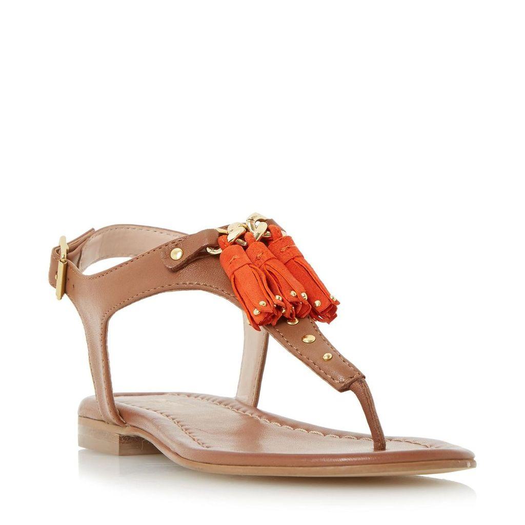 Laviniya Toe Post Tassel Trim Flat Sandal