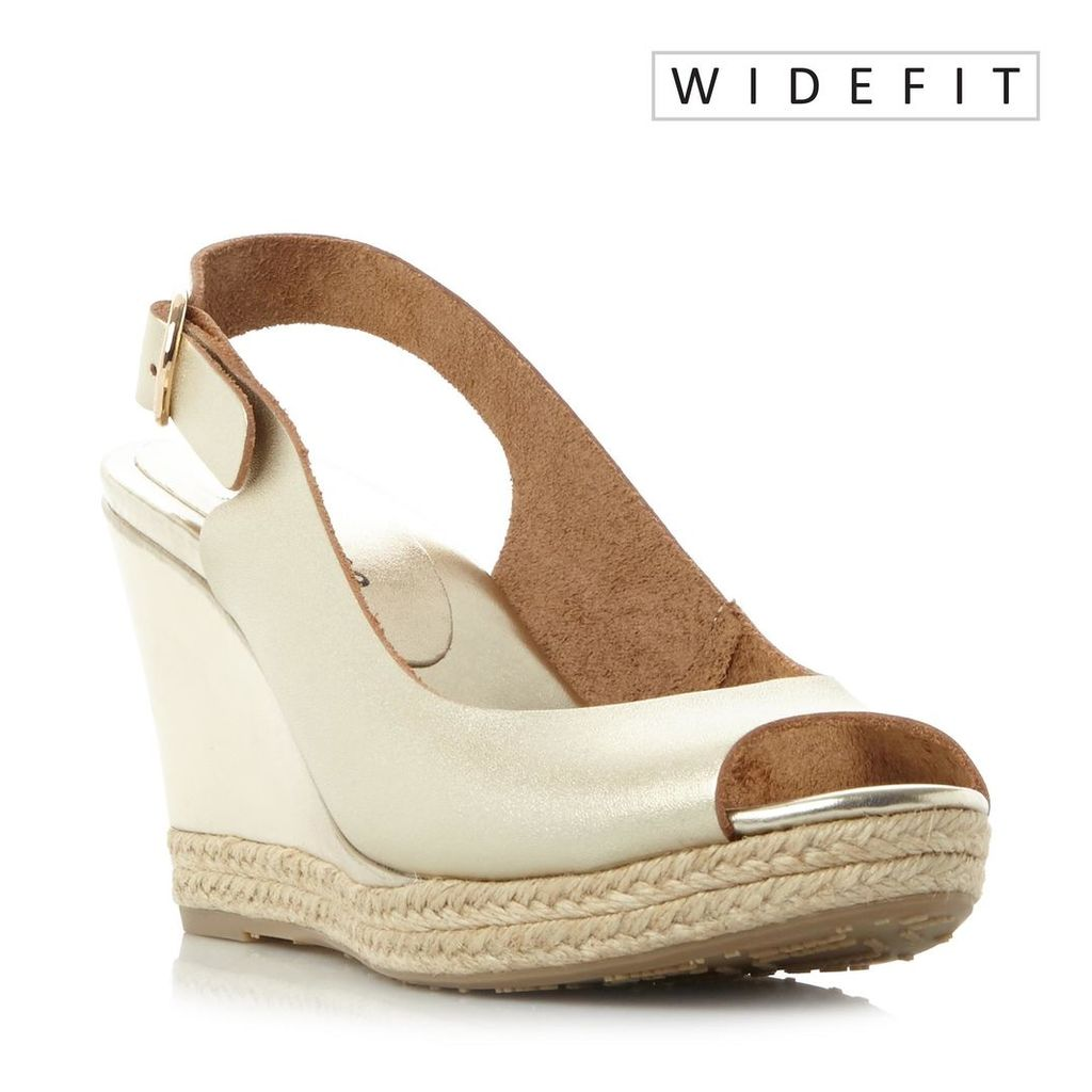 W Klick Wide Fit Espadrille Trim Wedge Sandal