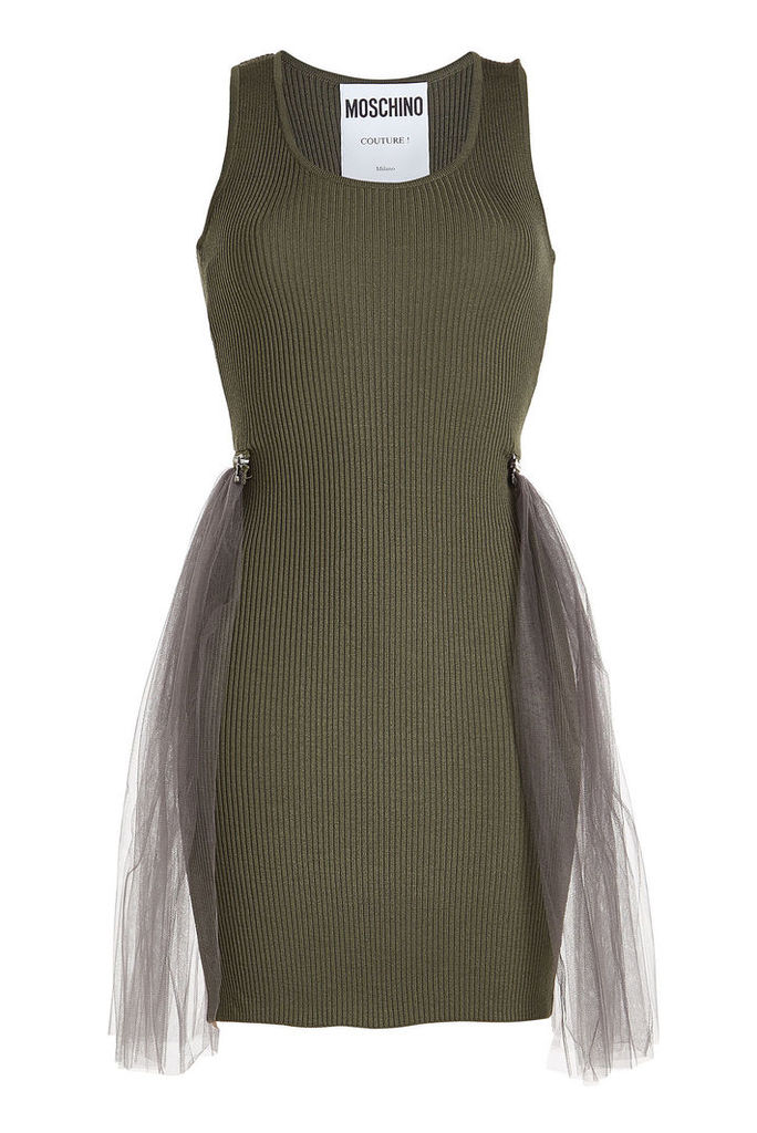 Moschino Ribbed Wool Dress with Tulle