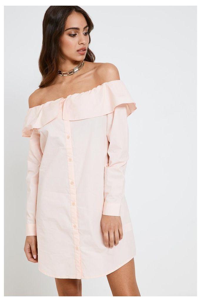 Fashion Union Off Shoulder Shirt Dress - Pink