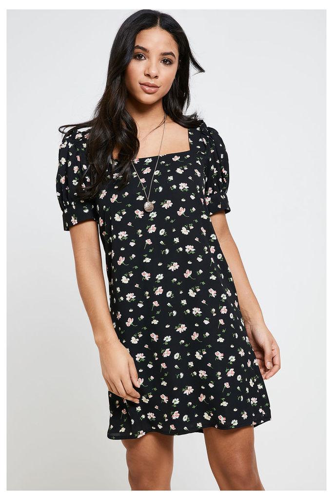 Fashion Union Floral Print Shift Dress - Black