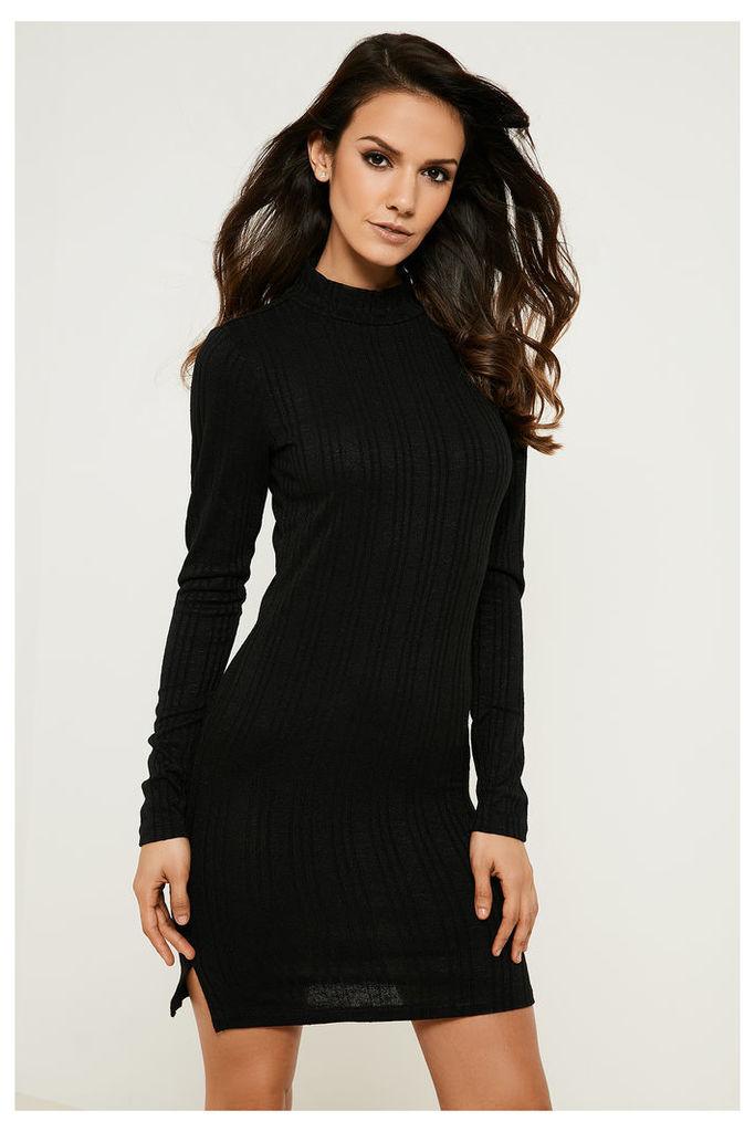 Vila Nalas Turtleneck Side Split Dress - Black