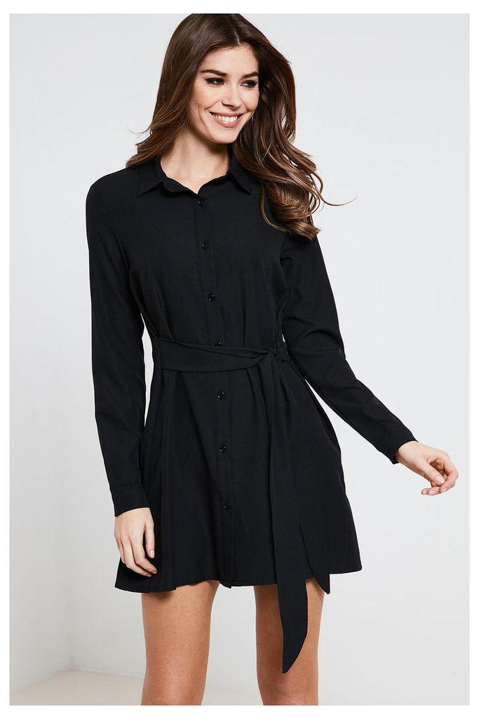 Fashion Union Long Sleeve Belted Shirt Dress - Black