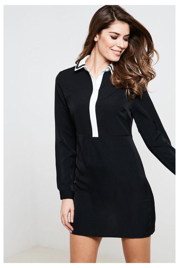 Fashion Union Long Sleeve Contrast Collar Dress - Black