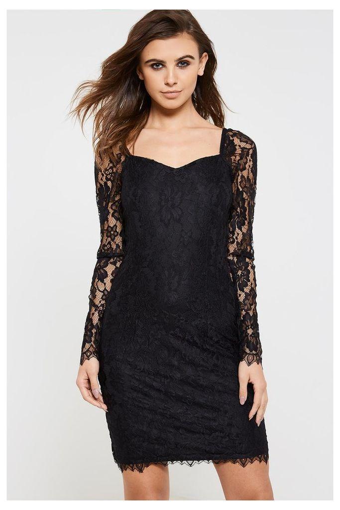 Vila Femira Lace Detail Dress - Black