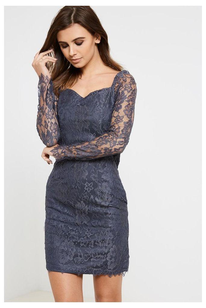 Vila Femira Lace Detail Dress - Blue