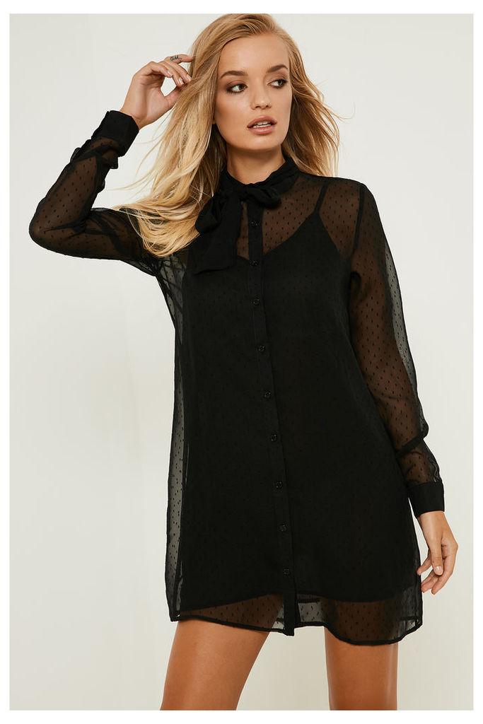 Fashion Union Dobby Tie Neck Dress - Black