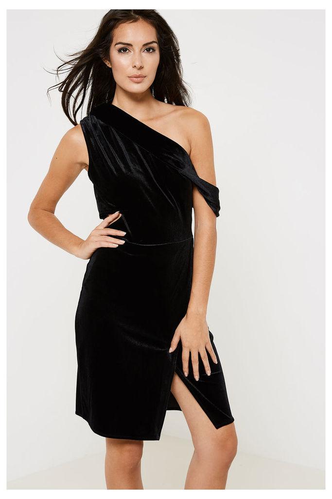 Anita & Green Velvet One Shoulder Cut Out Dress - Black