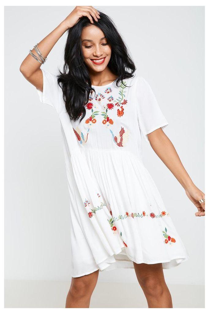 Anita & Green Embroidered Short Sleeve Smock Dress - White