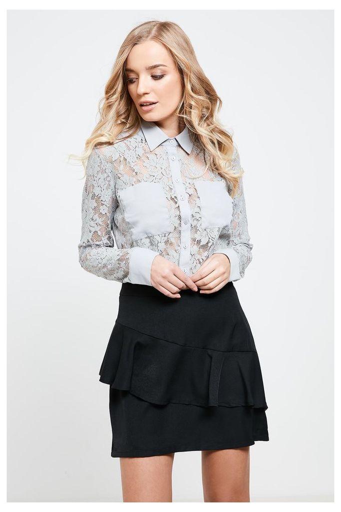 Fashion Union Ruffle Detail Skirt - Black