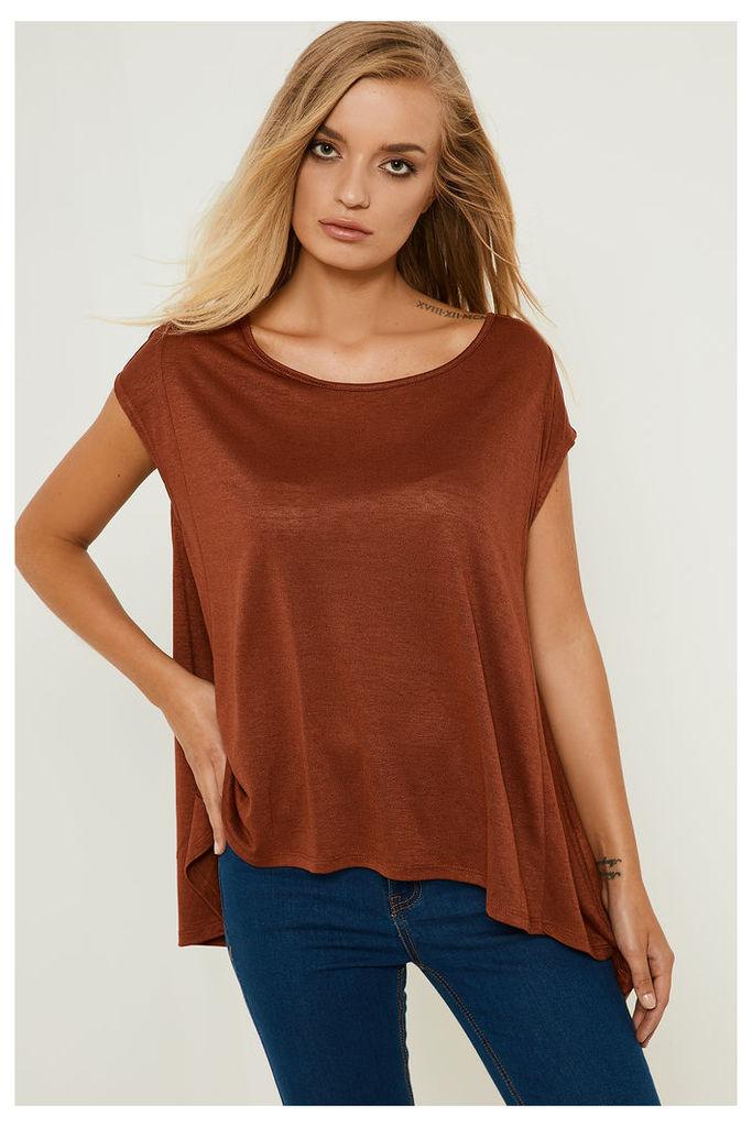 Only Brenda Cap Sleeve Loose Top - Brown
