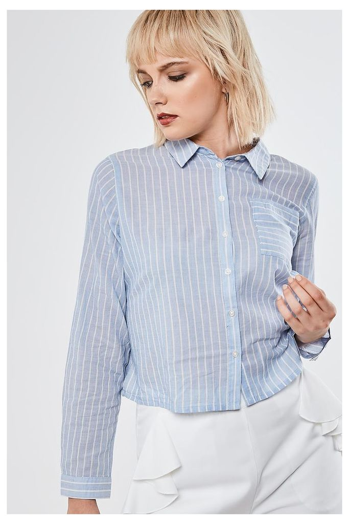 Only Striped Cropped Shirt - Blue